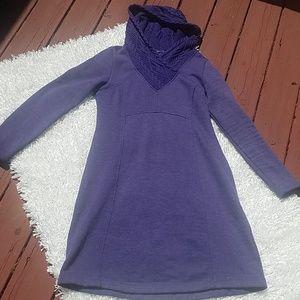 Prana Indigo Maud Fleece Hooded Sweater Dress, Med